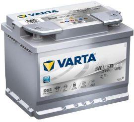 VARTA SILVER Dynamic D52 AGM  12V 60Ah/680A Autó Akkumulátor Jobb+