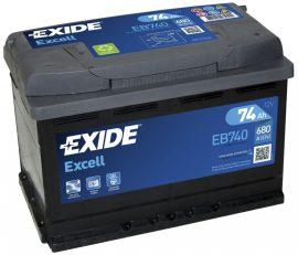 Exide Excell EB740 12V 74Ah/680A autó akkumulátor Jobb+