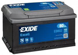 Exide Excell EB802 12V 80Ah/700A autó akkumulátor Jobb+