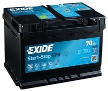 Exide Stop-Start EL700 12V 70Ah/720A start/stop autó akkumulátor